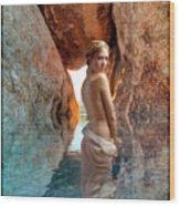 Bathing Maiden Wood Print