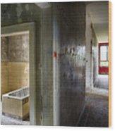 Bathroom In Deserted Building Wood Print