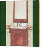 Bathroom Picture Wash Stand One Wood Print