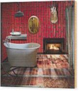 Bathroom Retro Style Wood Print