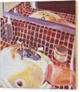 Bathroom Sink Wood Print