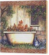 Bathtub Garden Wood Print