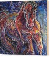 Batik Equine Abstract  Powerful By M Baldwin Wood Print