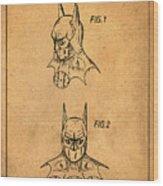 Batman Cowl Patent In Sepia Wood Print