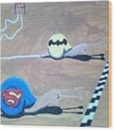 Batman Vs Superman Snail Wood Print