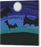 Bats At Night Wood Print