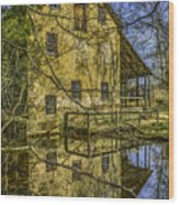 Batsto Gristmill Reflection Wood Print