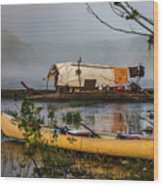 Batteau And Canoe In Fog At Galt's Mill 1708 Wood Print