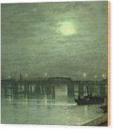 Battersea Bridge By Moonlight Wood Print by John Atkinson Grimshaw
