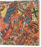 Battle Between Crusaders And Muslims Wood Print
