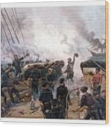 Battle Between Kearsarge And Alabama Wood Print