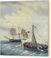 Battle Between The Russian Ship Opyt And A British Frigate Off The Coast Of Nargen Island  Wood Print