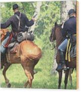 Battle By Horseback Wood Print