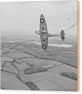 Battle Of Britain Spitfire Black And White Version Wood Print