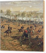 Battle Of Gettysburg Wood Print by Thure de Thulstrup
