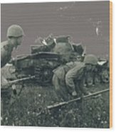 Battle Of Kursk Advancing Soviets Past Disabled Tigers 1942 Color Added 2016 Wood Print