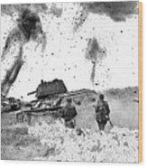 Battle Of Kursk Soviets Troops Advancing Behind Tanks 1942 Color Added 2016 Wood Print