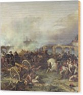 Battle Of Montereau Wood Print by Jean Charles Langlois