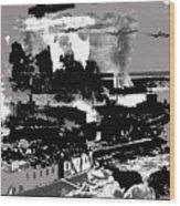 Battle Of Stalingrad Nazi Plane Crossing Volga River 1942 Wood Print