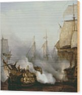 Battle Of Trafalgar Wood Print by Louis Philippe Crepin