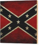 Battle Scarred Confederate Flag Wood Print
