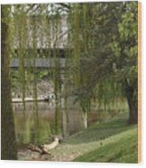 Bavarian Covered Bridge Over The Cass River Frankenmuthmichigan Wood Print