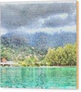 Bay And Greenery Wood Print