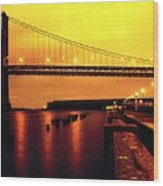 Bay Bridge Black And Orange Wood Print