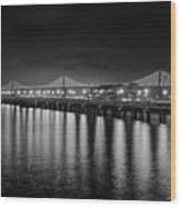 Bay Bridge San Francisco California Black And White Wood Print