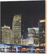 Bay Front Miami Skyline Wood Print