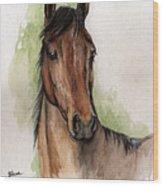 Bay Horse Portrait Watercolor Painting 02 2013 Wood Print