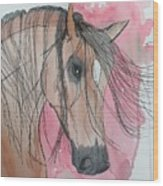 Bay Horse Watercolor Wood Print
