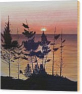 Bay Of Fundy Sunset Wood Print
