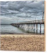 Bay Side Lynnhaven Fishing Pier Wood Print