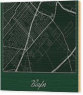 Baylor Street Map - Baylor University Waco Map Wood Print