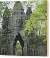 Bayon Gate Wood Print by Marion Galt