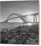Bayonne Bridge Black And White Wood Print