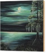 Bayou By Moonlight Wood Print