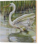 Bayou Caddy Great Egret Wood Print