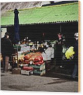 Bazaar On The Outskirts Of A Small Town Wood Print