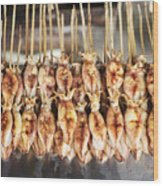 Bbq Asian Grilled Squid In Kep Market Cambodia Wood Print