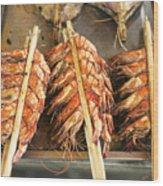 Bbq Fresh Grilled Prawns In Kep Market Cambodia Wood Print