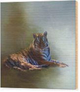 Be Calm In Your Heart - Tiger Art Wood Print