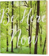 Be Here Now Green Forest In Spring Wood Print