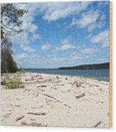 Beach And A Lake Wood Print