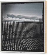 Beach And Fence Wood Print