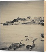 Beach And Harbour In Tenby Wood Print