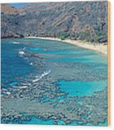 Beach And Haunama Bay, Oahu, Hawaii Wood Print