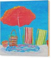 Beach Art - The Red Umbrella Wood Print
