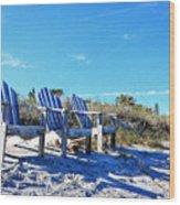 Beach Art - Waiting For Friends - Sharon Cummings Wood Print